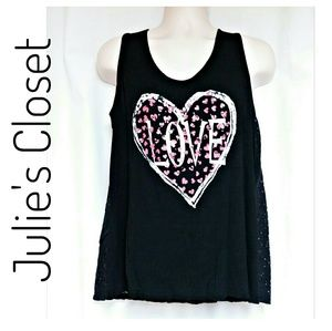 *FINAL*Lace Back Heart Love Graphic Tank Black 1X